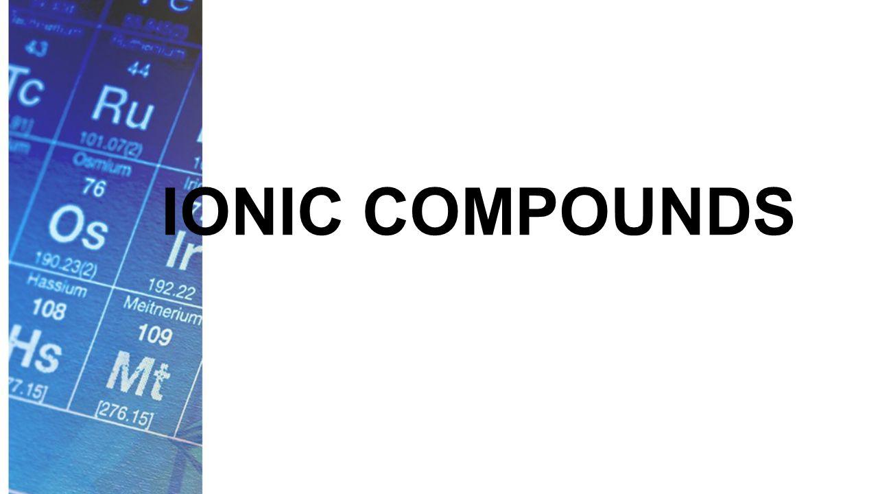 Naming Ionic Compounds Example: Rb 2 Se rubidium selenide rubidium selenide