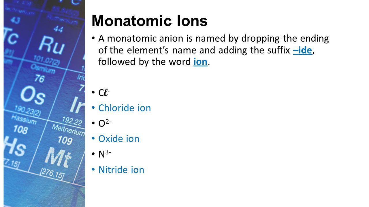 Monatomic Ions A monatomic anion is named by dropping the ending of the element's name and adding the suffix –ide, followed by the word ion.