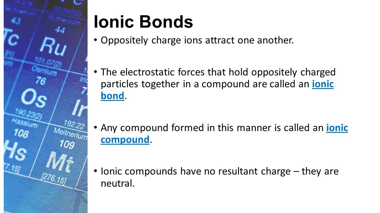 Ionic Bonds The process for sodium chloride (NaCl) looks like: https://www.youtube.com/watch?v=WVonuBjCrNo&Li st=PLRIs-O4v9NBjq8gz8OiF9GrZtECtQ_tbv&index=2 https://www.youtube.com/watch?v=WVonuBjCrNo&Li st=PLRIs-O4v9NBjq8gz8OiF9GrZtECtQ_tbv&index=2