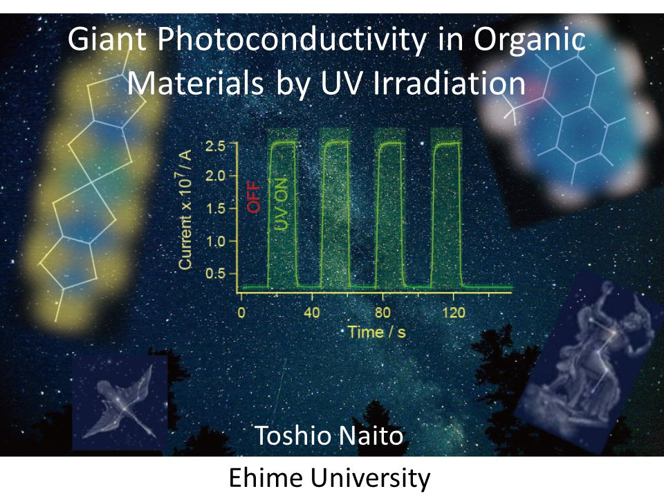 Toshio Naito Ehime University Giant Photoconductivity in Organic Materials by UV Irradiation