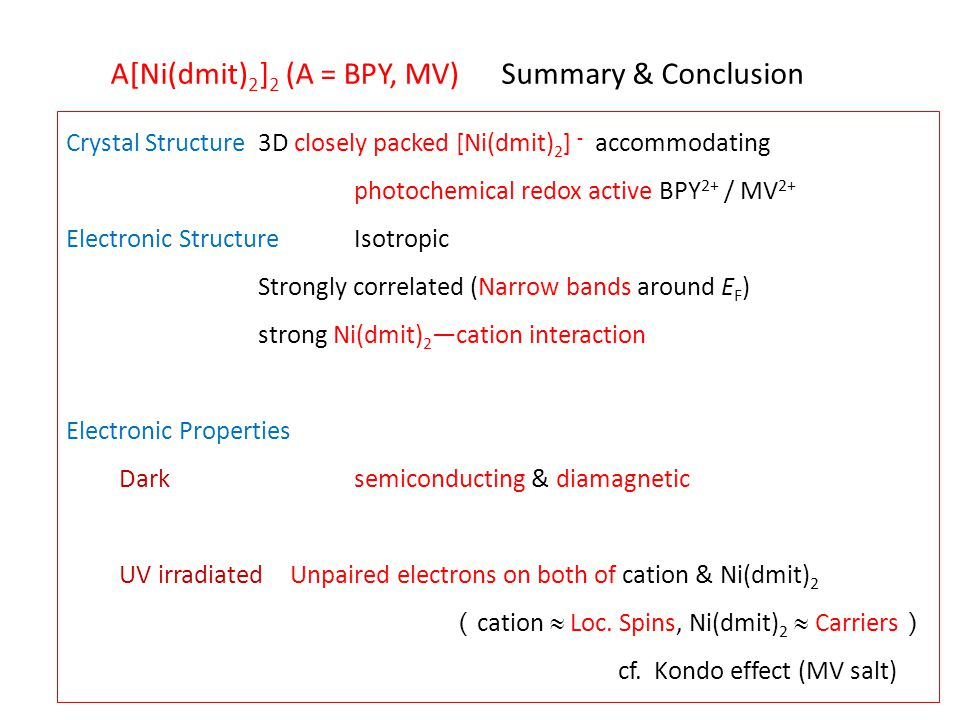 Summary & ConclusionA[Ni(dmit) 2 ] 2 (A = BPY, MV) Crystal Structure3D closely packed [Ni(dmit) 2 ] - accommodating photochemical redox active BPY 2+ / MV 2+ Electronic StructureIsotropic Strongly correlated (Narrow bands around E F ) strong Ni(dmit) 2 ―cation interaction Electronic Properties Dark semiconducting & diamagnetic UV irradiated Unpaired electrons on both of cation & Ni(dmit) 2 ( cation  Loc.