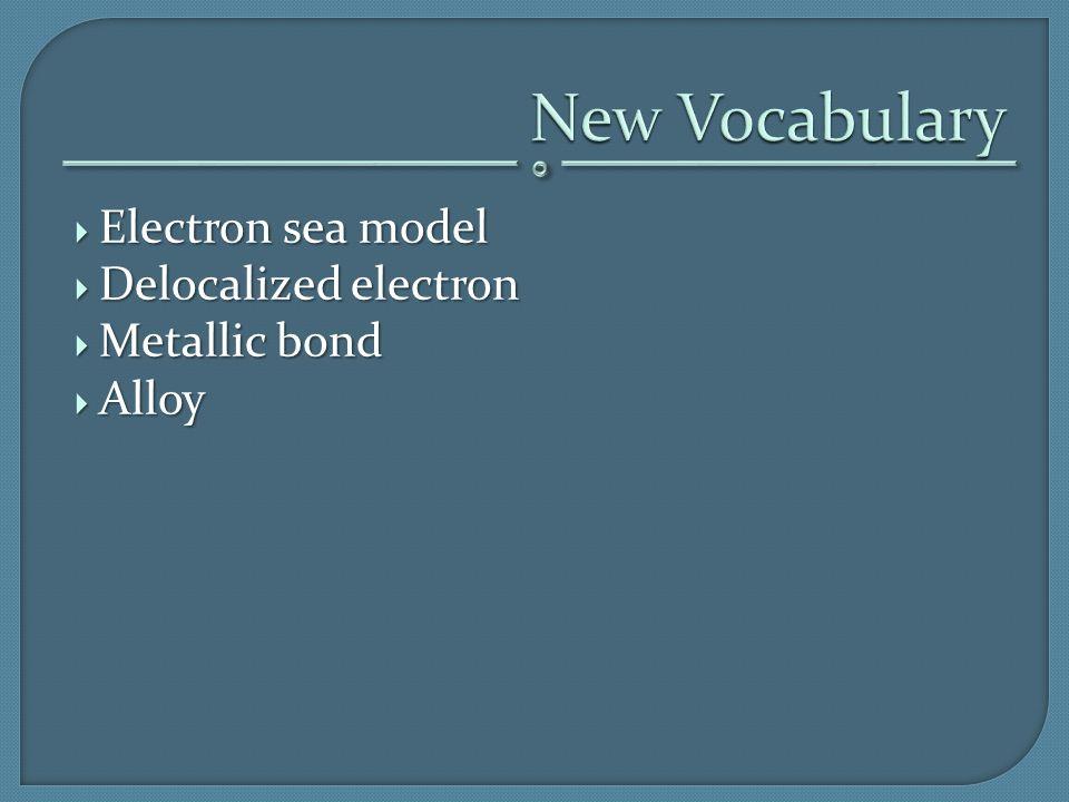  Electron sea model  Delocalized electron  Metallic bond  Alloy