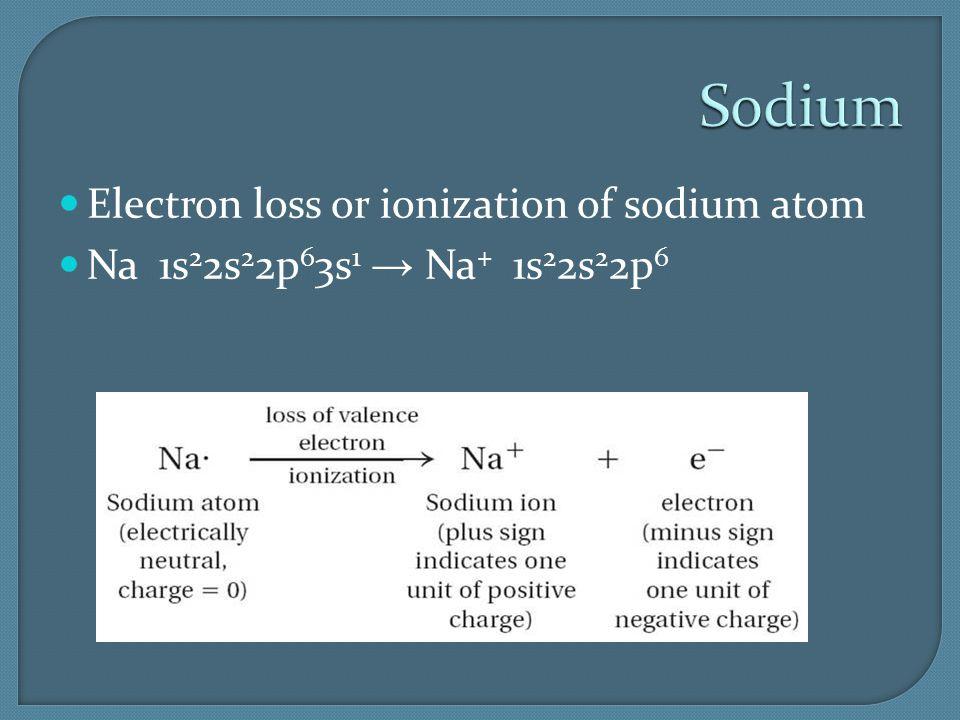 Sodium Electron loss or ionization of sodium atom Na 1s 2 2s 2 2p 6 3s 1 → Na + 1s 2 2s 2 2p 6