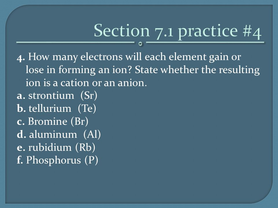 4. How many electrons will each element gain or lose in forming an ion? State whether the resulting ion is a cation or an anion. a. strontium (Sr) b.