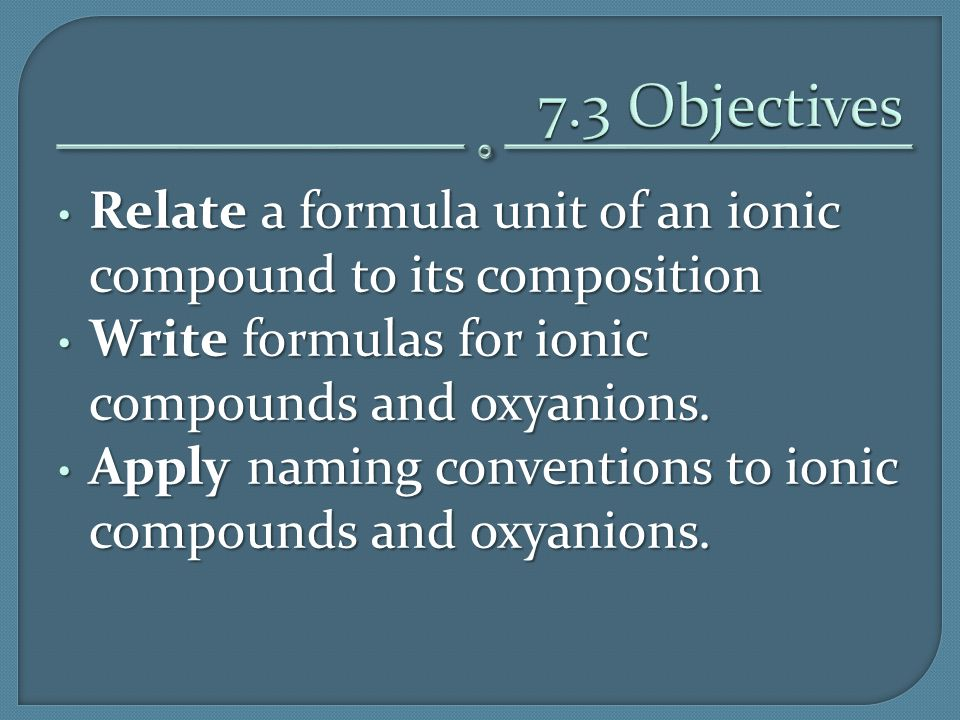 Relate a formula unit of an ionic compound to its composition Relate a formula unit of an ionic compound to its composition Write formulas for ionic c