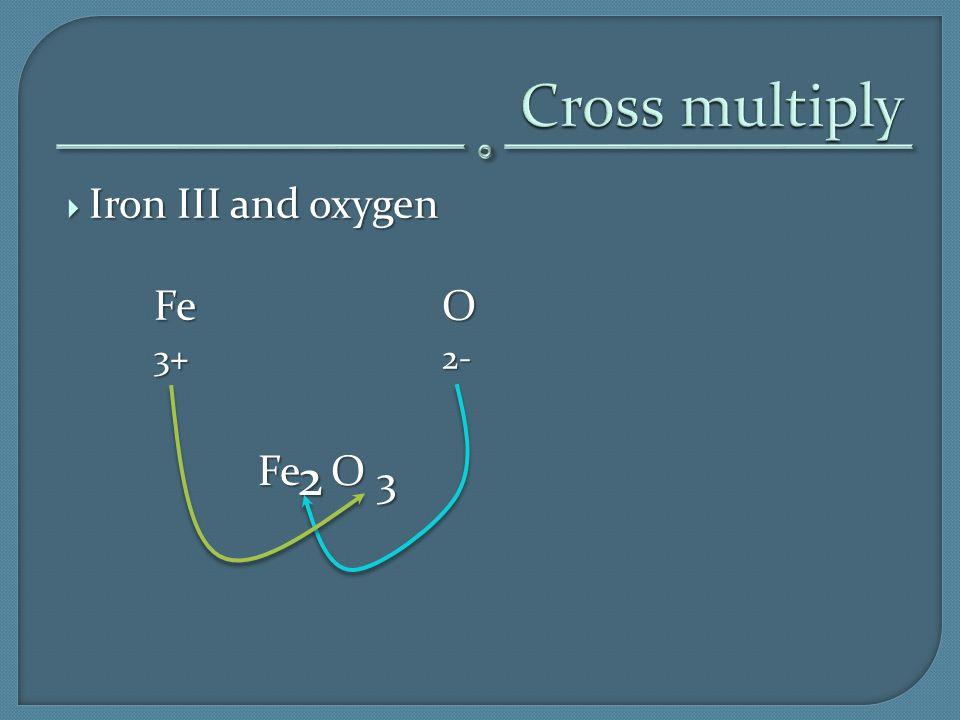  Iron III and oxygen FeO 3+2- 2 3 Fe O