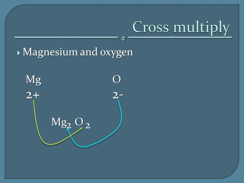  Magnesium and oxygen MgO 2+2- 2+2- 2 2 Mg O