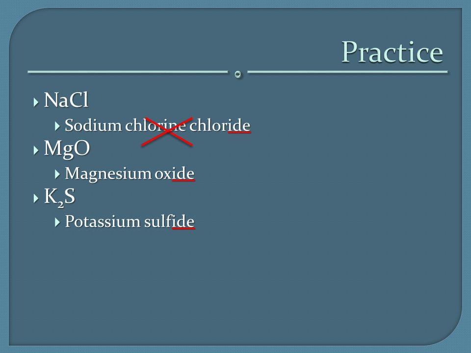  NaCl  Sodium chlorine chloride  MgO  Magnesium oxide K2SK2SK2SK2S  Potassium sulfide