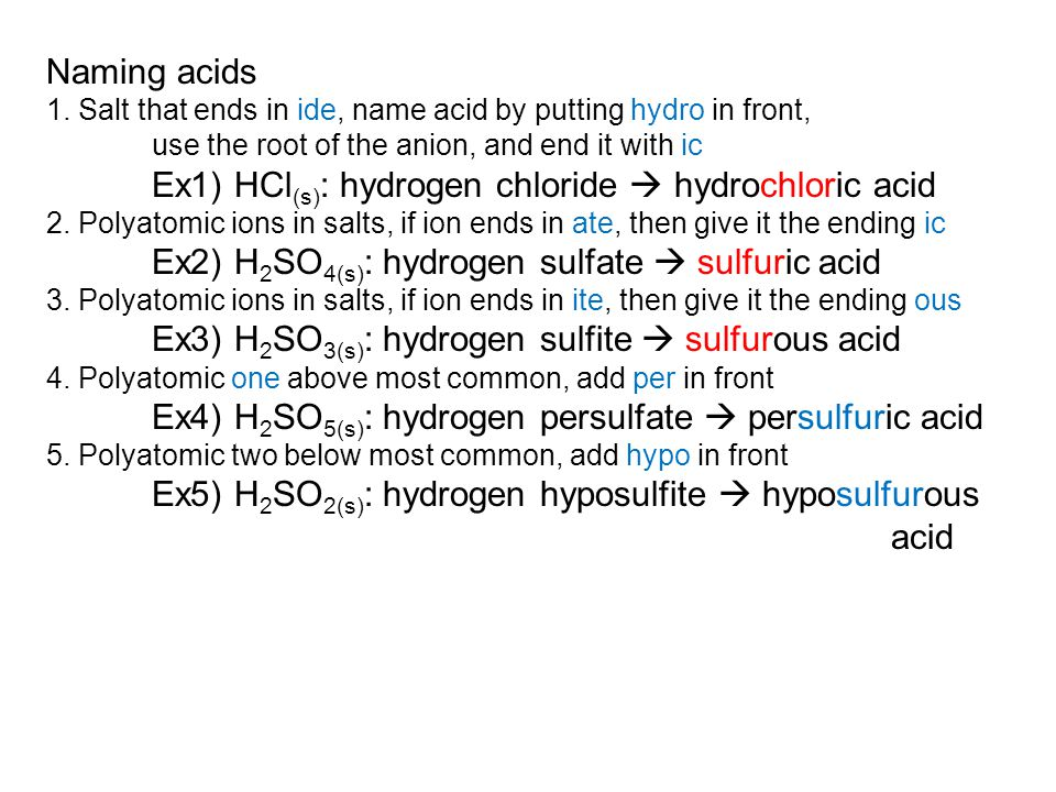 Naming acids 1.