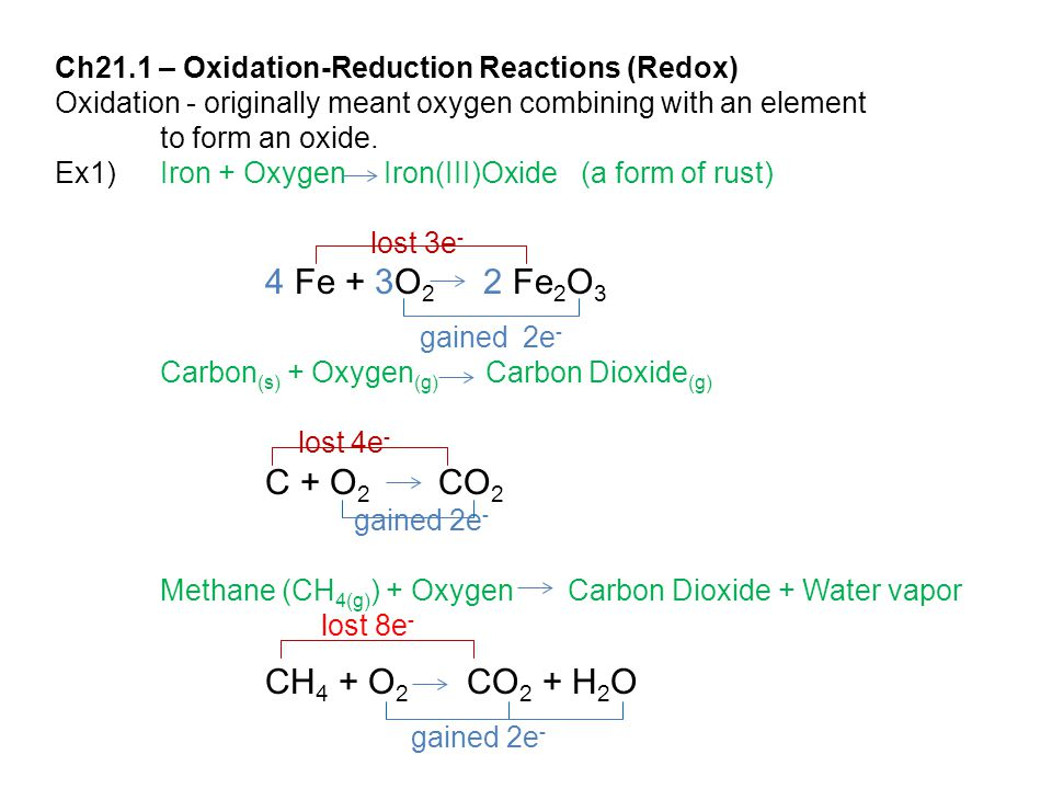 Ch21.1 – Oxidation-Reduction Reactions (Redox) Oxidation - originally meant oxygen combining with an element to form an oxide.