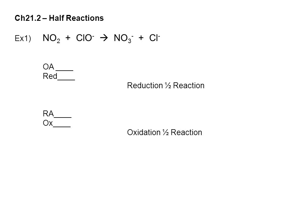 Ch21.2 – Half Reactions Ex1) NO 2 + ClO -  NO 3 - + Cl - OA ____ Red____ Reduction ½ Reaction RA____ Ox____ Oxidation ½ Reaction