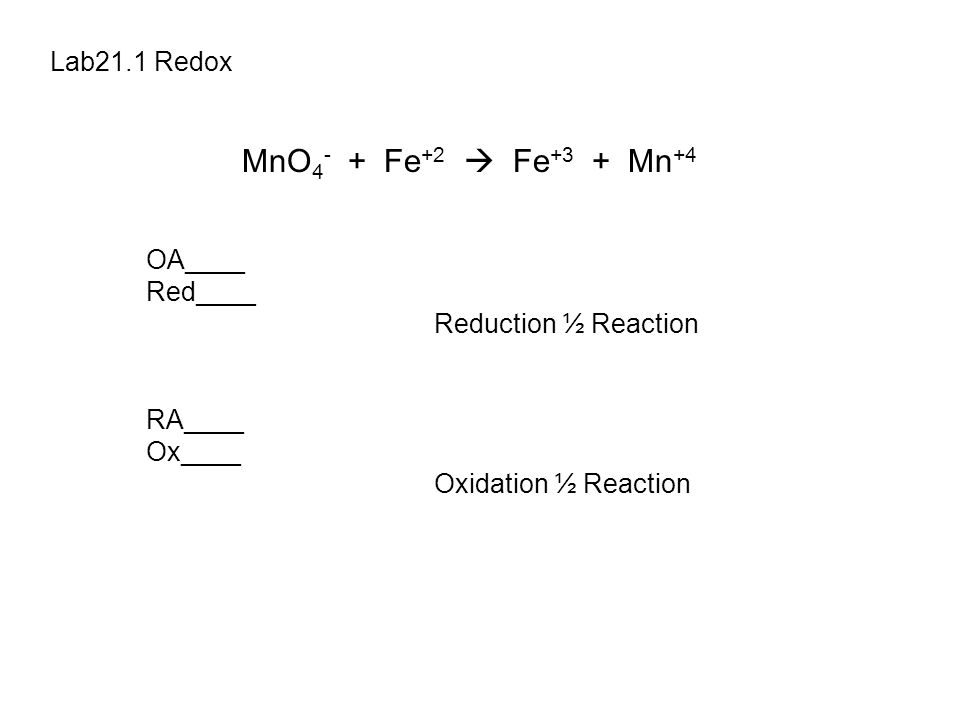 Lab21.1 Redox MnO 4 - + Fe +2  Fe +3 + Mn +4 OA____ Red____ Reduction ½ Reaction RA____ Ox____ Oxidation ½ Reaction