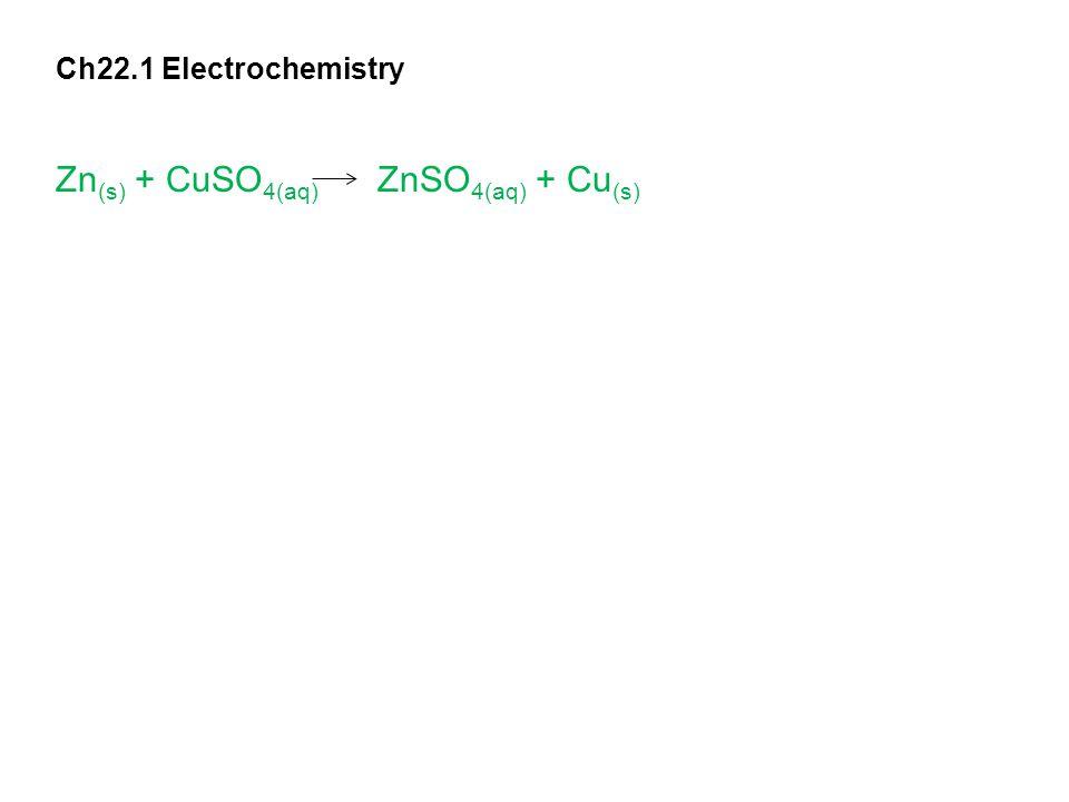 Ch22.1 Electrochemistry Zn (s) + CuSO 4(aq) ZnSO 4(aq) + Cu (s)