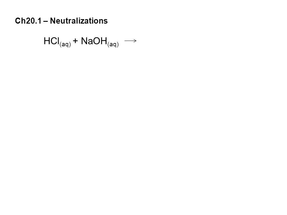 Ch20.1 – Neutralizations HCl (aq) + NaOH (aq)