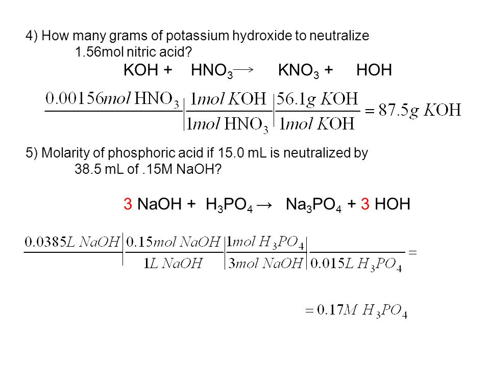 4) How many grams of potassium hydroxide to neutralize 1.56mol nitric acid.