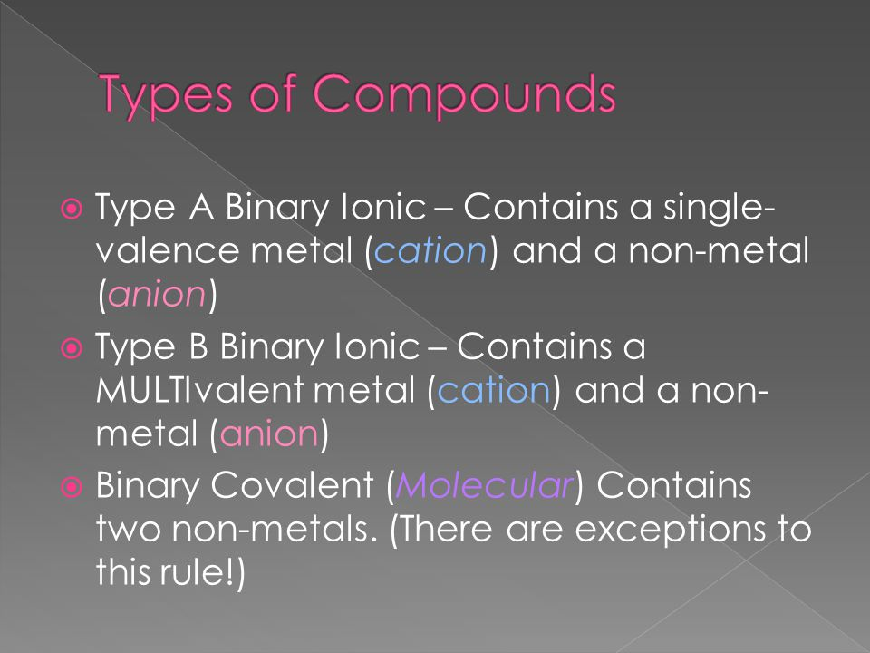  Type A Binary Ionic – Contains a single- valence metal (cation) and a non-metal (anion)  Type B Binary Ionic – Contains a MULTIvalent metal (cation) and a non- metal (anion)  Binary Covalent (Molecular) Contains two non-metals.