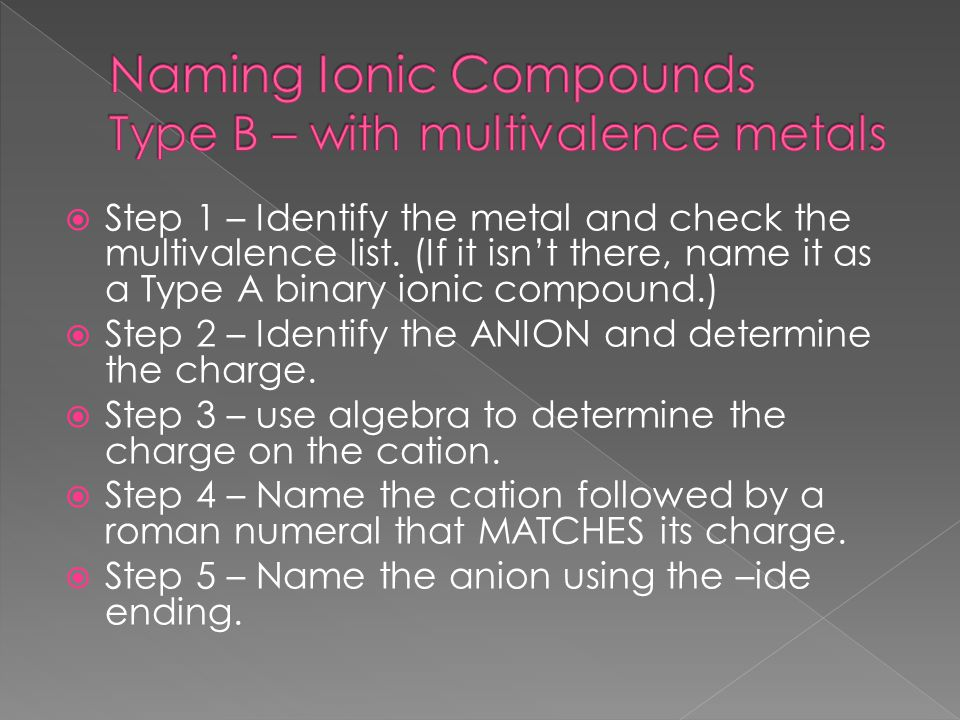  Step 1 – Identify the metal and check the multivalence list.