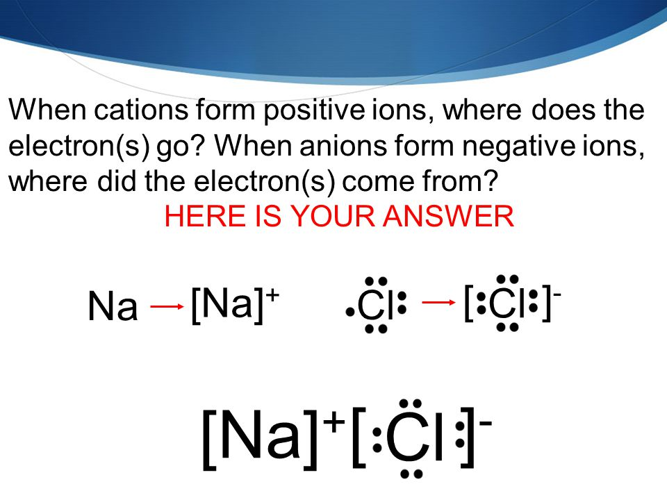 When cations form positive ions, where does the electron(s) go.