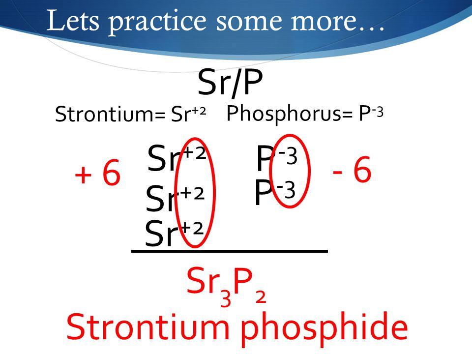 Lets practice some more… Sr/P Phosphorus= P -3 Strontium= Sr +2 Sr +2 P -3 - 6 Sr 3 P2P2 Strontium phosphide Sr +2 + 6