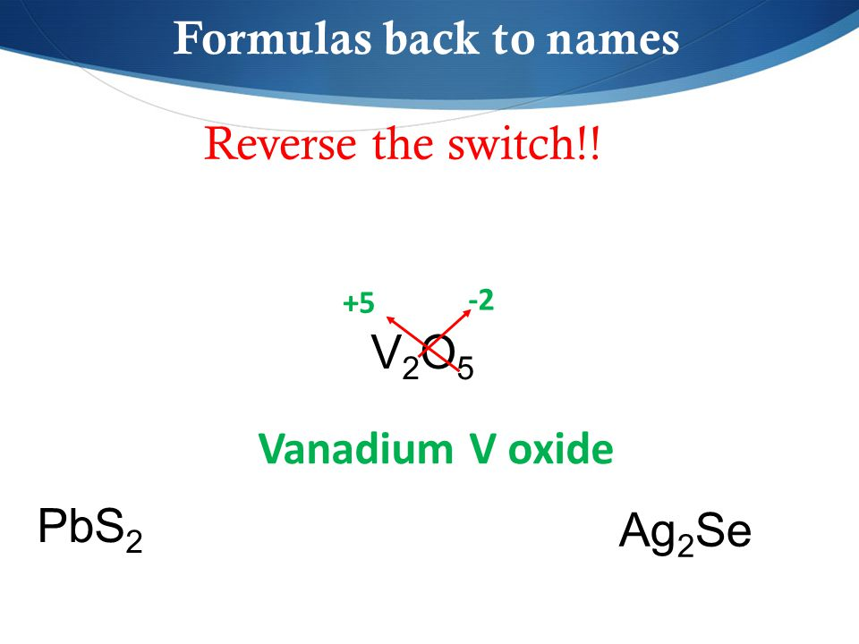 Reverse the switch!! V2O5V2O5 PbS 2 Ag 2 Se Formulas back to names -2 +5 Vanadium V oxide