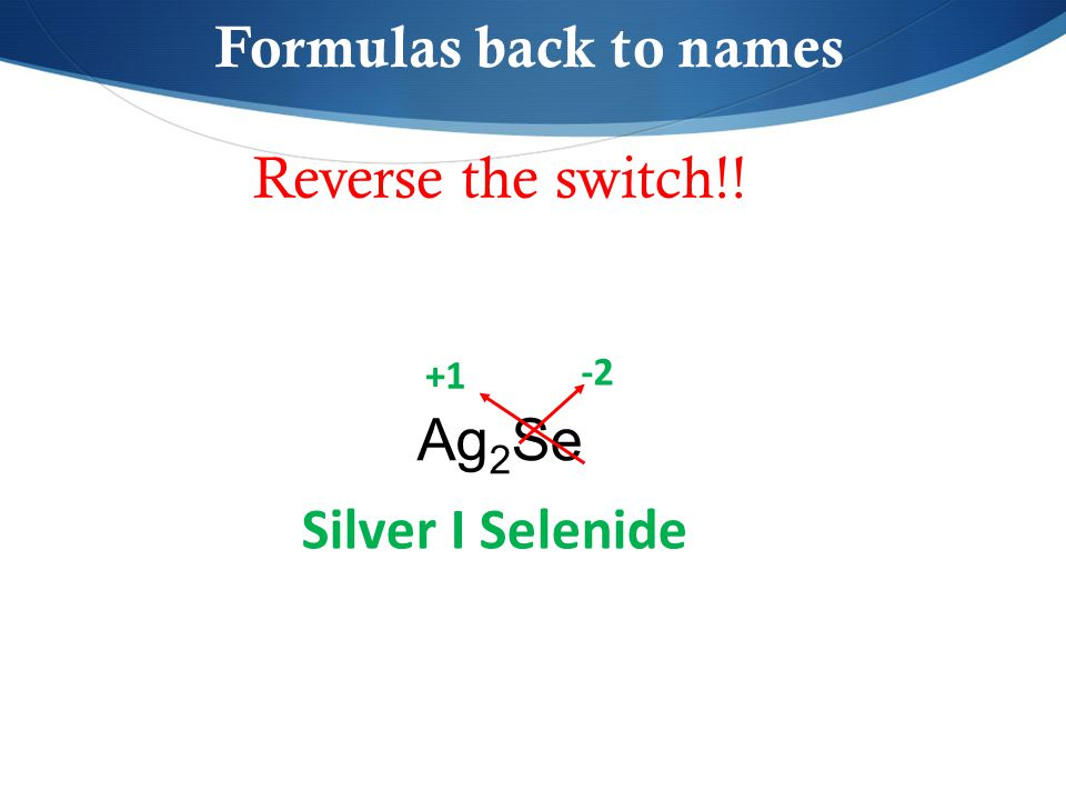 Reverse the switch!! Ag 2 Se Formulas back to names -2 +1 Silver I Selenide