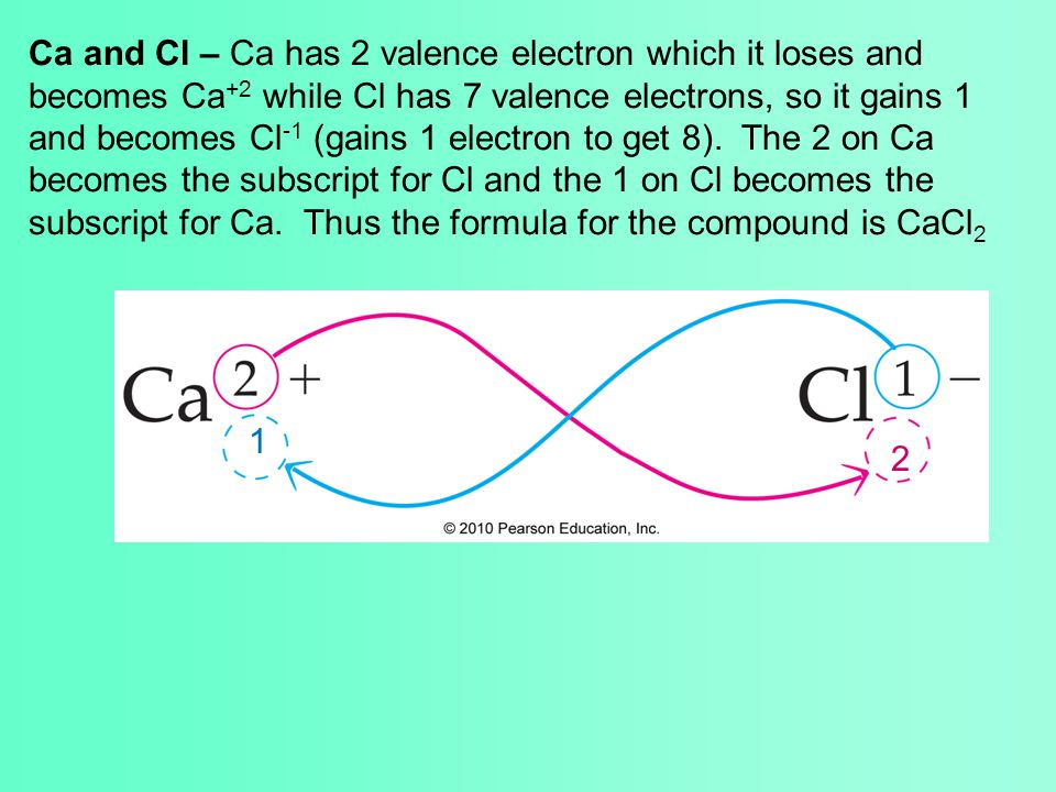 Ca and Cl – Ca has 2 valence electron which it loses and becomes Ca +2 while Cl has 7 valence electrons, so it gains 1 and becomes Cl -1 (gains 1 elec