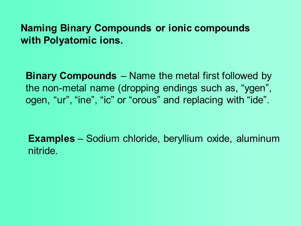 Naming Binary Compounds or ionic compounds with Polyatomic ions. Binary Compounds – Name the metal first followed by the non-metal name (dropping endi