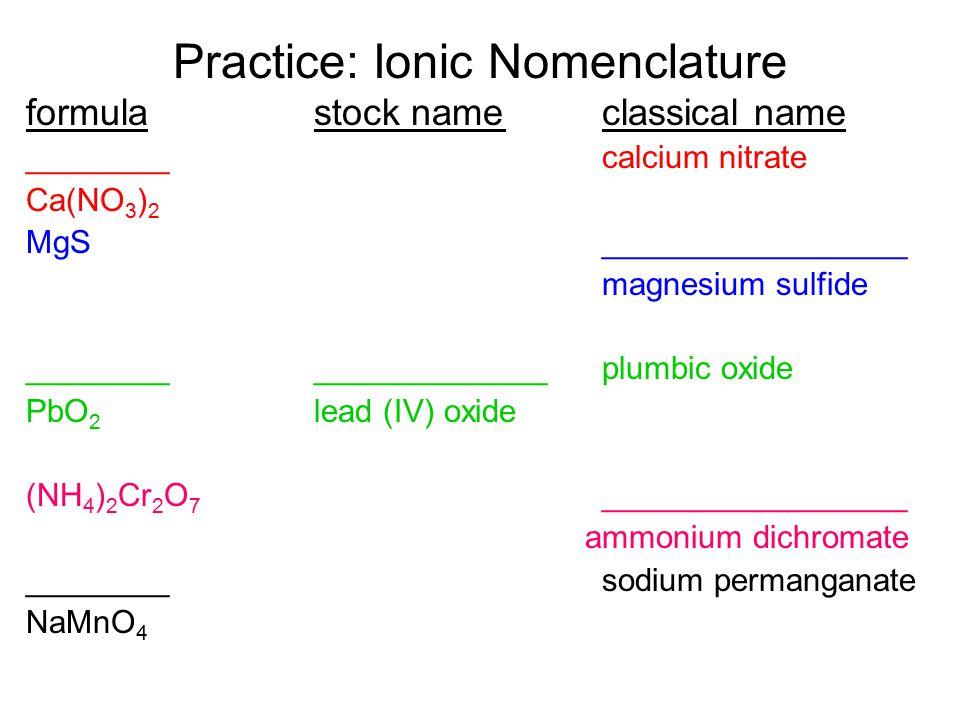 CrO 4 2- chromate Cr 2 O 7 2- dichromate