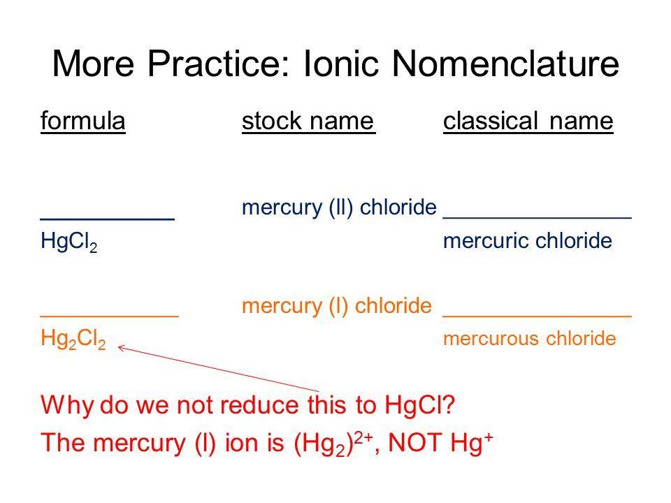 Practice: Ionic Nomenclature formulastock nameclassical name ________calcium nitrate Ca(NO 3 ) 2 MgS_________________ magnesium sulfide ______________