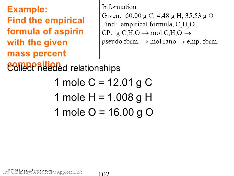 © 2014 Pearson Education, Inc. Example: Find the empirical formula of aspirin with the given mass percent composition Collect needed relationships 1 m
