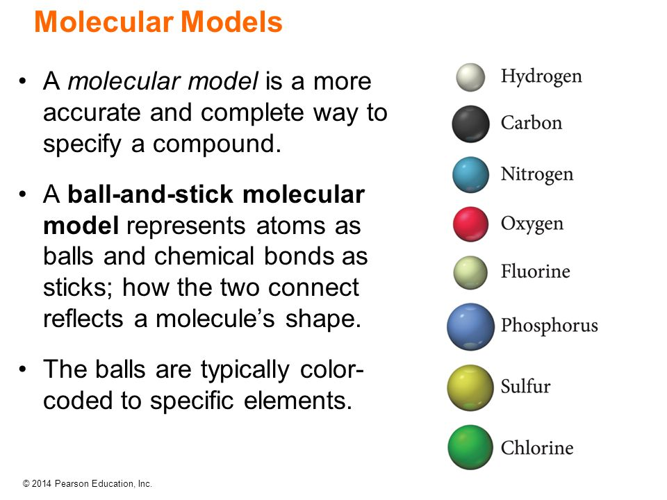 © 2014 Pearson Education, Inc. A molecular model is a more accurate and complete way to specify a compound. A ball-and-stick molecular model represent
