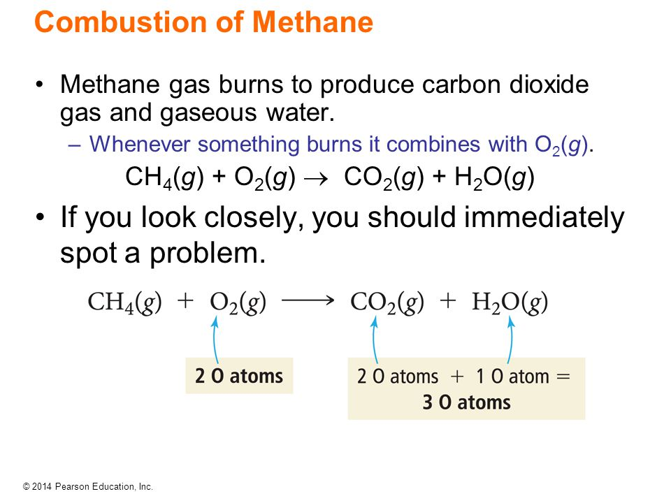 Combustion of Methane Methane gas burns to produce carbon dioxide gas and gaseous water. –Whenever something burns it combines with O 2 (g). CH 4 (g)