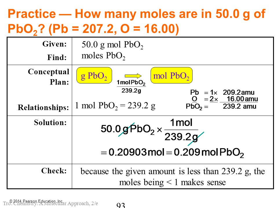 Practice — How many moles are in 50.0 g of PbO 2 ? (Pb = 207.2, O = 16.00) because the given amount is less than 239.2 g, the moles being < 1 makes se