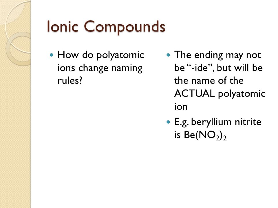 Ionic Compounds How do polyatomic ions change naming rules.