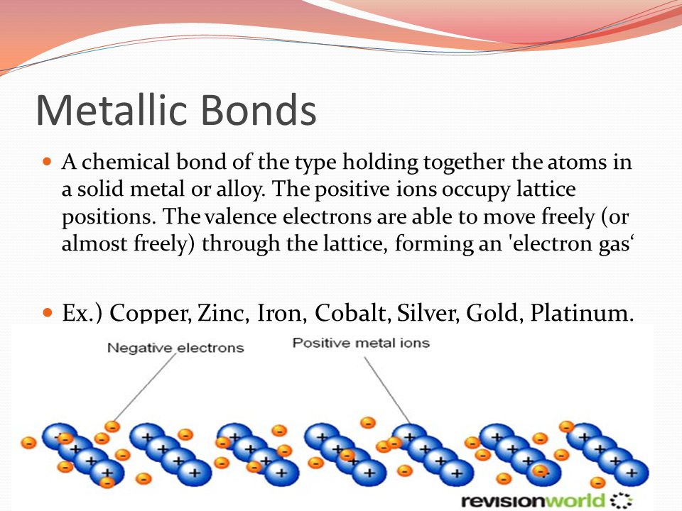 Metallic Bonds A chemical bond of the type holding together the atoms in a solid metal or alloy.