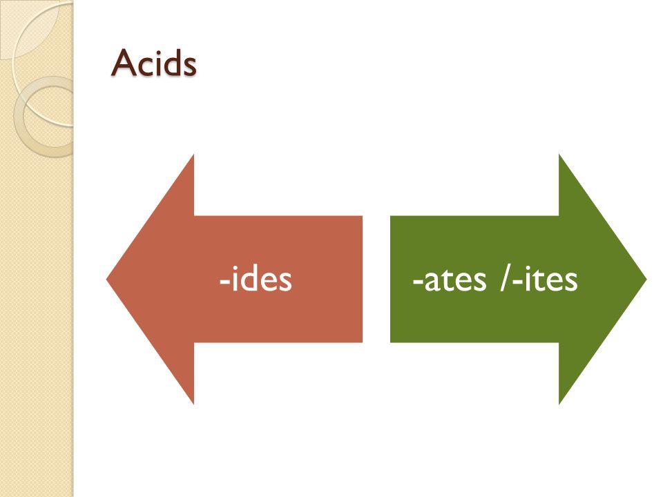 Acids -ides -ates /-ites