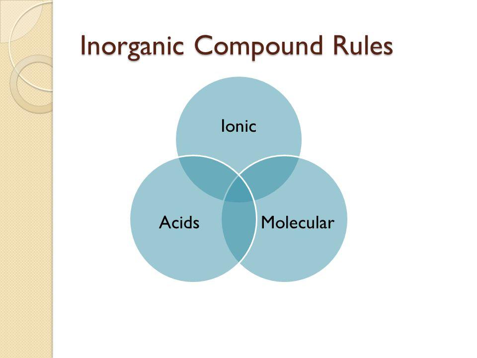 Inorganic Compound Rules Ionic MolecularAcids