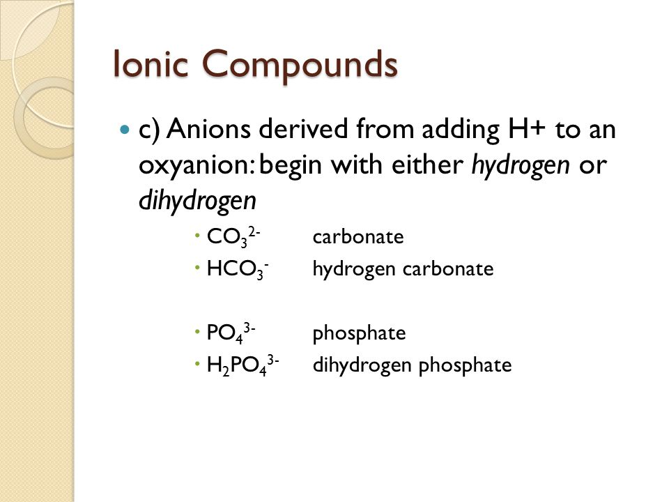 Ionic Compounds c) Anions derived from adding H+ to an oxyanion: begin with either hydrogen or dihydrogen  CO 3 2- carbonate  HCO 3 - hydrogen carbo