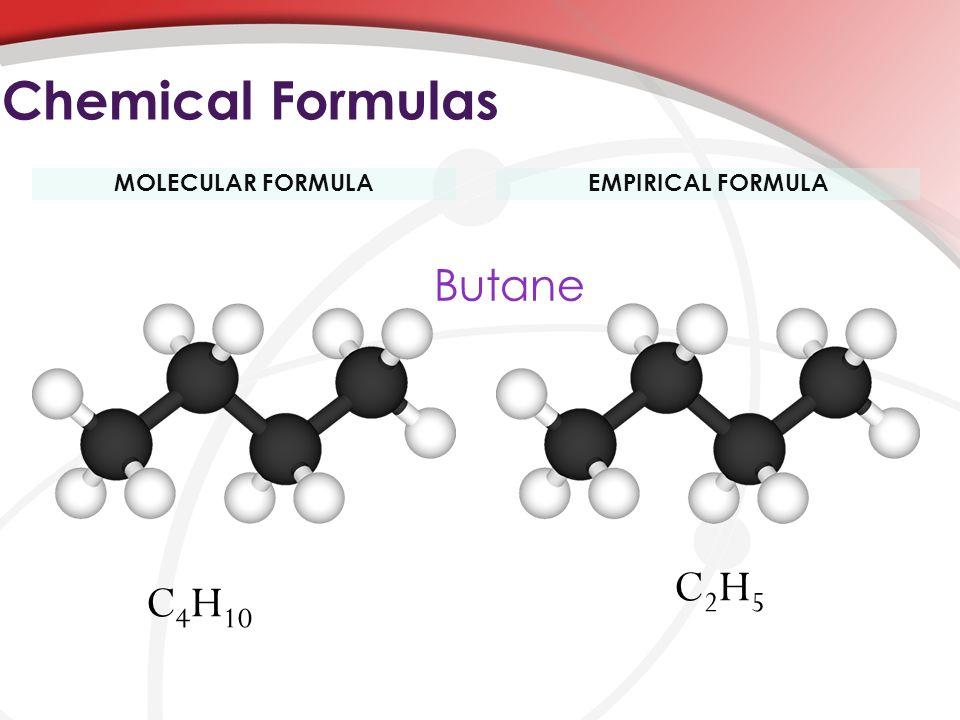 MOLECULAR FORMULAEMPIRICAL FORMULA Chemical Formulas C 4 H 10 C2H5C2H5 Butane
