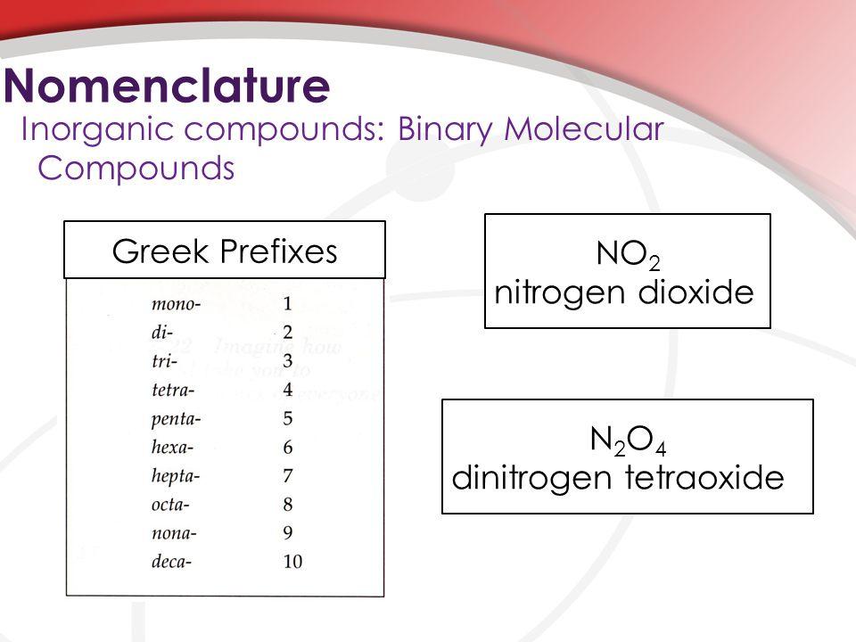 Nomenclature Inorganic compounds: Binary Molecular Compounds NO 2 nitrogen dioxide N 2 O 4 dinitrogen tetraoxide Greek Prefixes