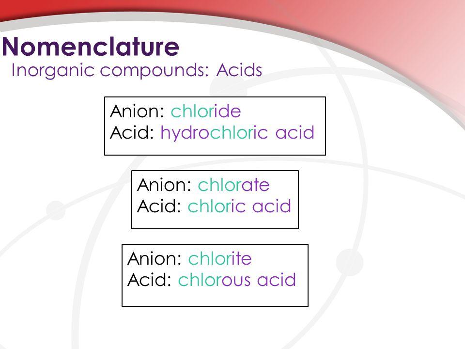 Nomenclature Inorganic compounds: Acids Anion: chloride Acid: hydrochloric acid Anion: chlorate Acid: chloric acid Anion: chlorite Acid: chlorous acid