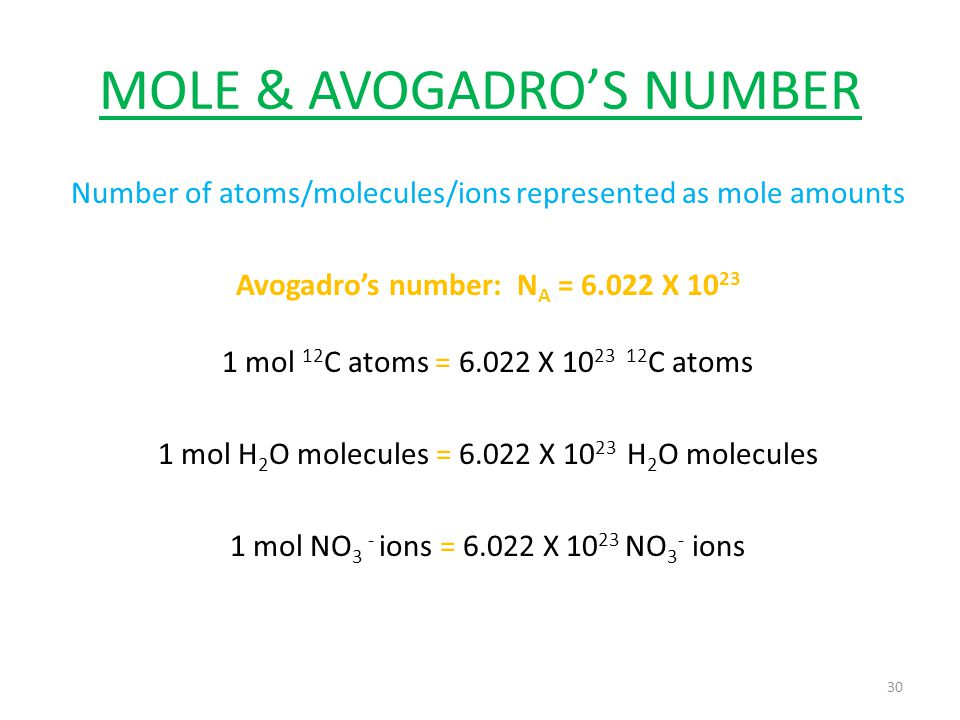 MOLE & AVOGADRO'S NUMBER Number of atoms/molecules/ions represented as mole amounts Avogadro's number: N A = 6.022 X 10 23 1 mol 12 C atoms = 6.022 X