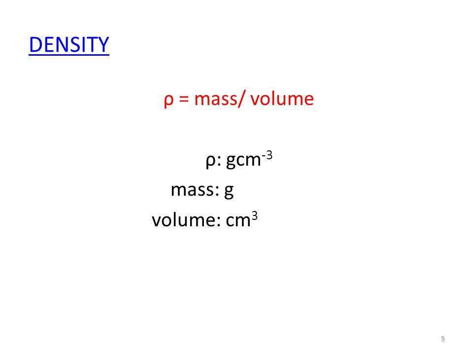 DENSITY ρ = mass/ volume ρ: gcm -3 mass: g volume: cm 3 9
