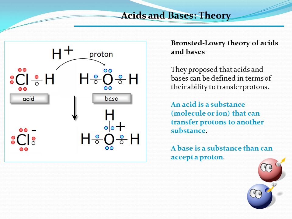 Acids and Bases: Theory Bronsted-Lowry theory of acids and bases They proposed that acids and bases can be defined in terms of their ability to transfer protons.