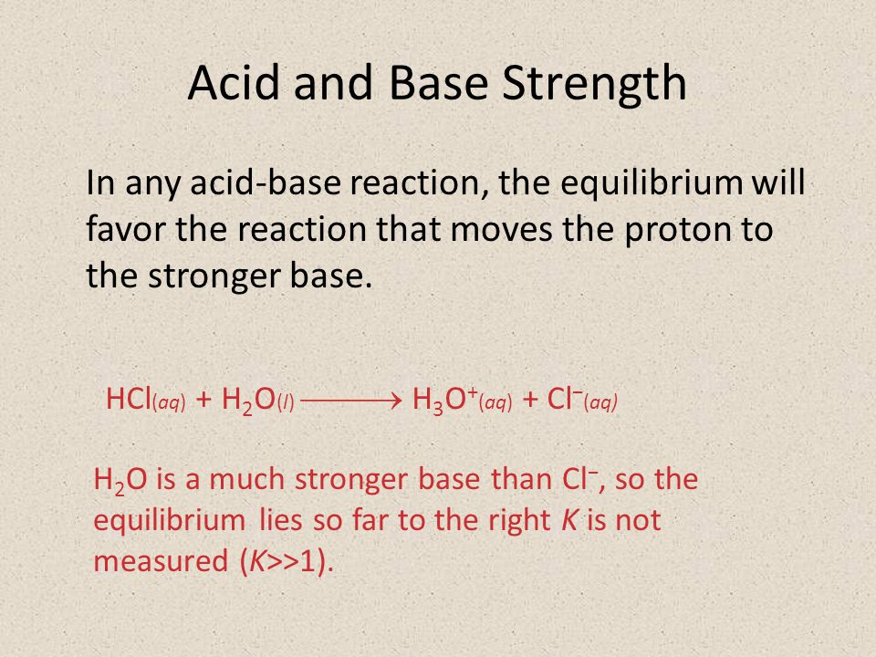 Acid and Base Strength In any acid-base reaction, the equilibrium will favor the reaction that moves the proton to the stronger base.