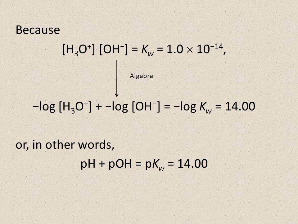 Because [H 3 O + ] [OH − ] = K w = 1.0  10 −14, −log [H 3 O + ] + −log [OH − ] = −log K w = or, in other words, pH + pOH = pK w = Algebra