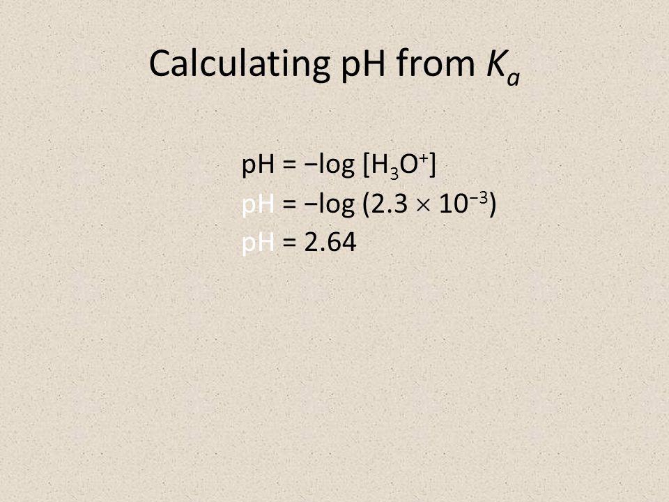 Calculating pH from K a pH = −log [H 3 O + ] pH = −log (2.3  10 −3 ) pH = 2.64