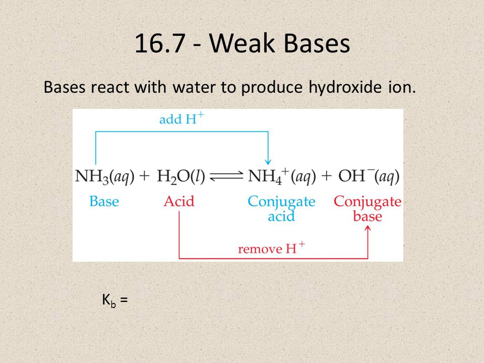 16.7 - Weak Bases Bases react with water to produce hydroxide ion. K b =