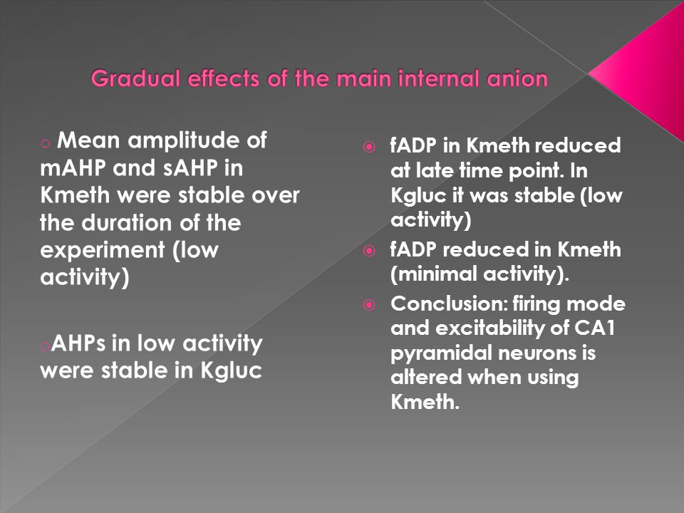 o Mean amplitude of mAHP and sAHP in Kmeth were stable over the duration of the experiment (low activity) o AHPs in low activity were stable in Kgluc