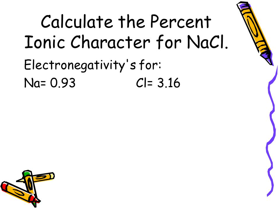 Calculate the Percent Ionic Character for NaCl. Electronegativity's for: Na= 0.93Cl= 3.16